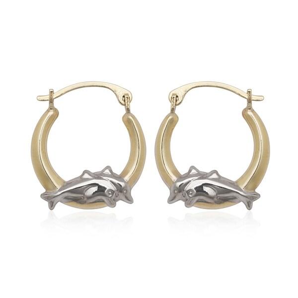 10k Gold Two-tone Dolphin Hoop Earrings