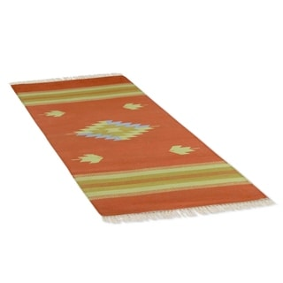 Handcrafted Cotton 'Ginger Diamond' Rug 2x3 (India)
