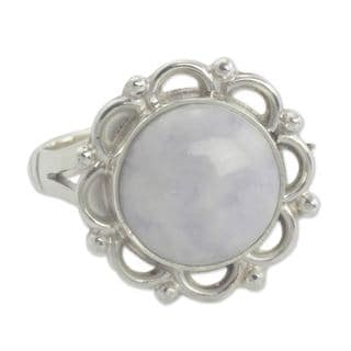 Handcrafted Sterling Silver 'Lilac Dahlia' Jade Ring (Guatemala)