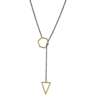 Brass Two Tone Triangle Necklace