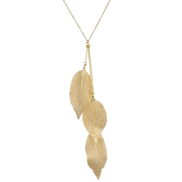 Brass Goldtone Leaf Y Necklace
