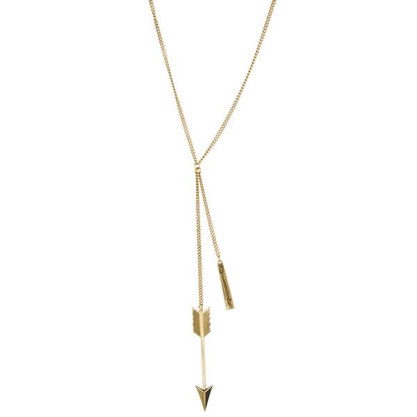 Brass Goldtone Arrow Y Necklace