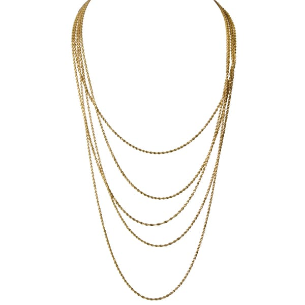 Goldtone Layered NecklaceWhite Charm Necklace