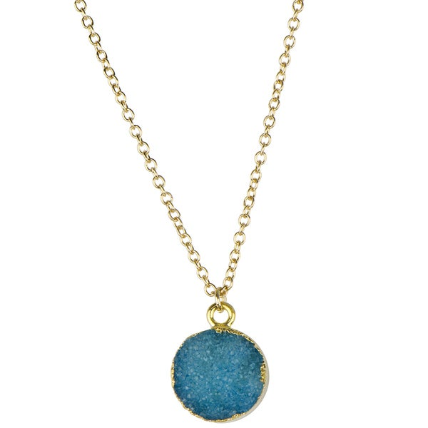 Brass Round Blue Charm Necklace