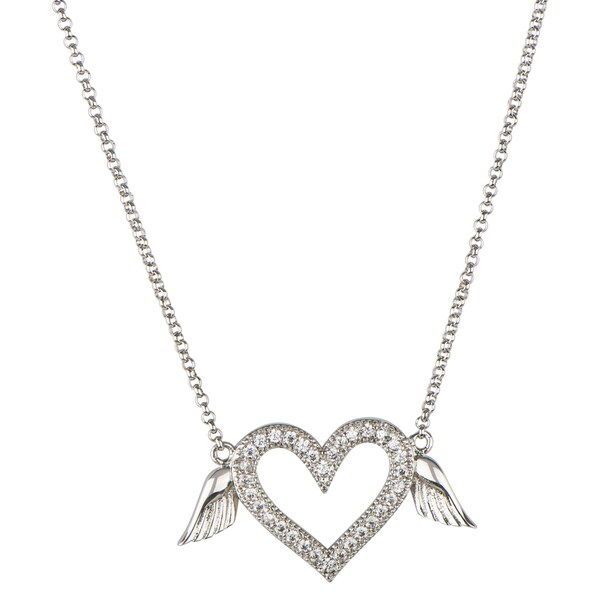 Brass Flying Heart CZ Necklace