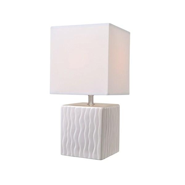 Lite Source Kube Table Lamp, White