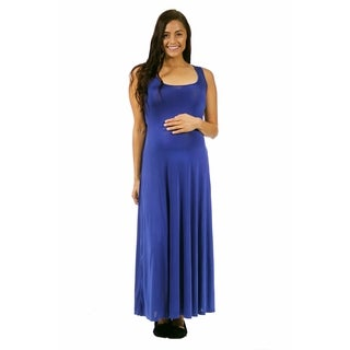 24/7 Comfort Apparel Women's Maternity Scoop-Neck Tank Maxi Dress