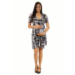 24/7 Comfort Apparel Women's Abstract Maternity Gray Wrap Dress