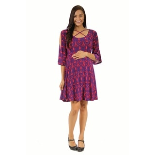 24/7 Comfort Apparel Women's Maternity Abstract Print Split-Sleeve Dress