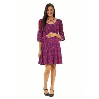 24/7 Comfort Apparel Women's Maternity Abstract Print Split-Sleeve Dress