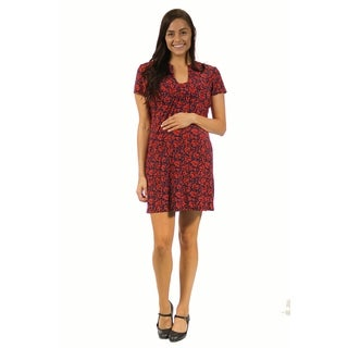 24/7 Comfort Apparel Women's Maternity Red Floral Classic Dress