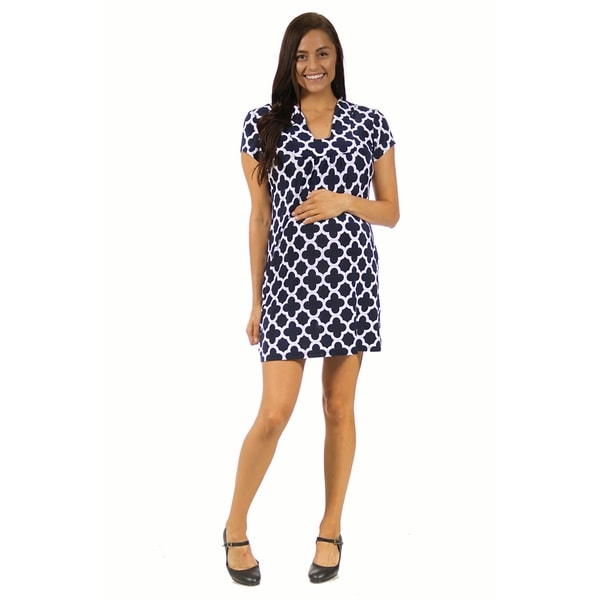 24/7 Comfort Apparel Women's Maternity Navy Blue Clover Classic Dress