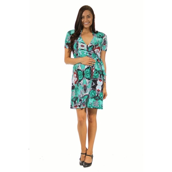 24/7 Comfort Apparel Women's Maternity Teal Abstract Mosaic Wrap Dress