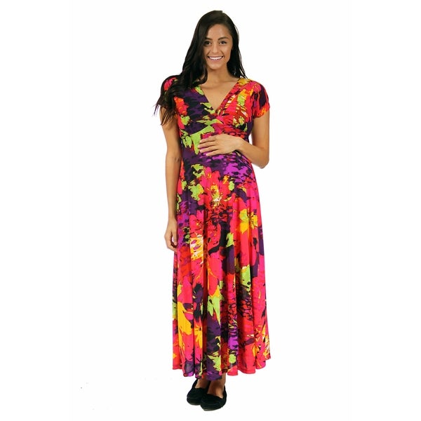 24/7 Comfort Apparel Women's Vibrant Floral Maternity Wrap Dress