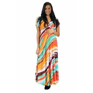 24/7 Comfort Apparel Women's Hot and Cool Brush Stroke Printed Maternity Maxi Dress