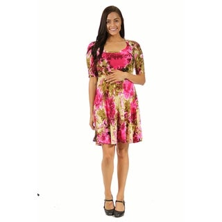 24/7 Comfort Apparel Women's Maternity Floral Splatter Pattern Dress