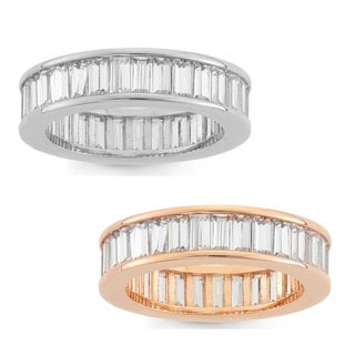 Gioelli Silverplated or Rose-plated Emerald-cut Cubic Zirconia Eternity Band