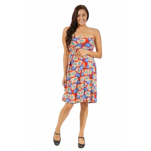 24/7 Comfort Apparel Women's Maternity Floral Fun Printed Tube Short Dress