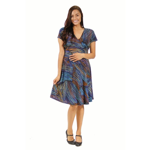 24/7 Comfort Apparel Women's Maternity Blue and Gold Striped Empire Dress