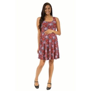 24/7 Comfort Apparel Women's Maternity Red Paisley Printed Tank Dress