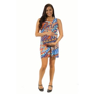 24/7 Comfort Apparel Women's Maternity Color Echo Printed Dress