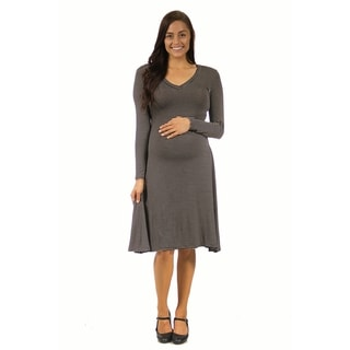 24/7 Comfort Apparel Women's Maternity Belted Stripe Print Dress