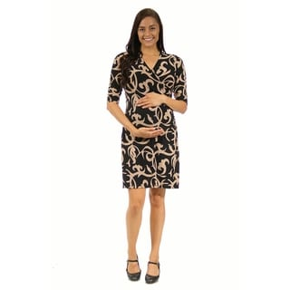 24/7 Comfort Apparel Women's Black and Cream Maternity Abstract Wrap Dress