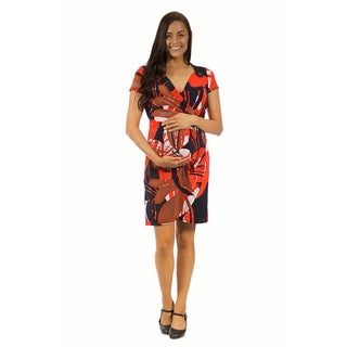 24/7 Comfort Apparel Women's Oriental Print Faux Wrapped Maternity Dress