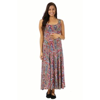 24/7 Comfort Apparel Women's Vibrant Paisley Maternity Tank Maxi Dress