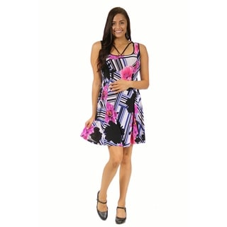 24/7 Comfort Apparel Women's Abstract Neckline Floral Stripe Maternity Printed Dress