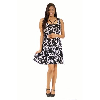 24/7 Comfort Apparel Women's Abstract Neckline Maternity Printed Dress