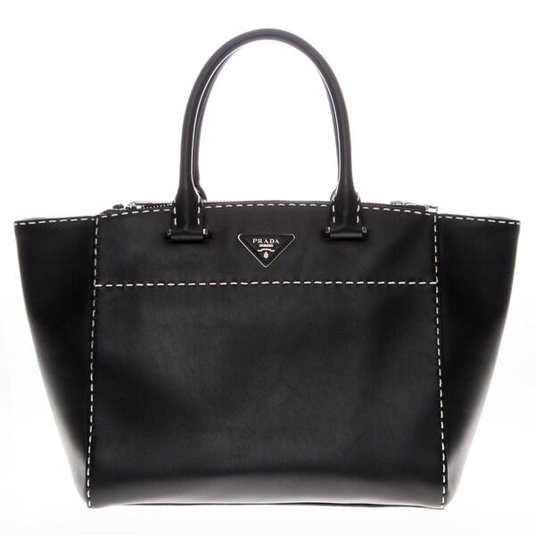 prada black and white bag - Prada Hand-Stitched City Calf Leather Tote - 17320804 - Overstock ...