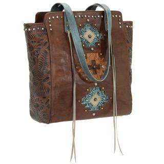 American West Distressed Sky Blue/ Golden Tan Navajo Soul Tote Bag