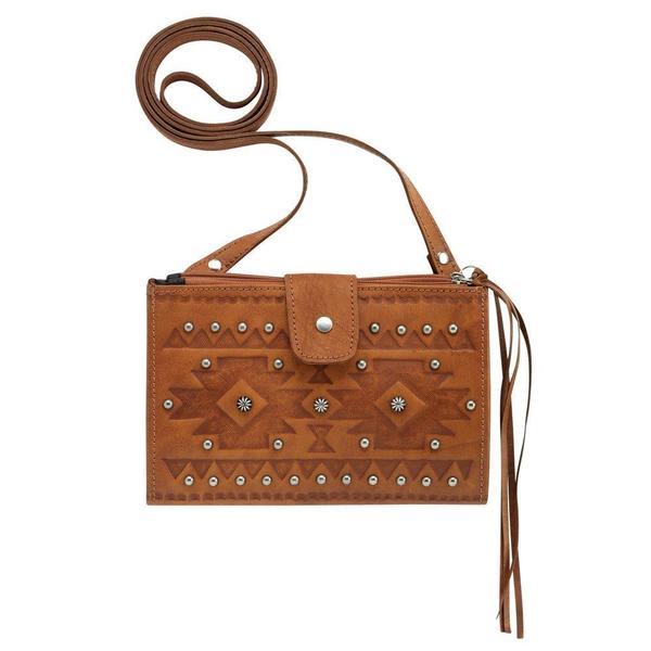 American West Tan Chippewa Crossbody Wallet