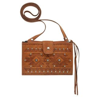 American West Tan Chippewa Crossbody Wallet