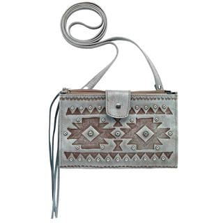 American West Beige Chippewa Crossbody Wallet