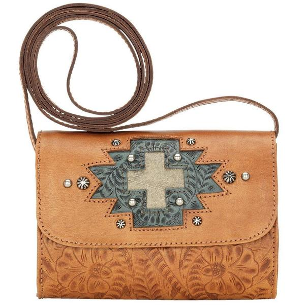 American West Tan Game Day Crossbody Wallet Bag