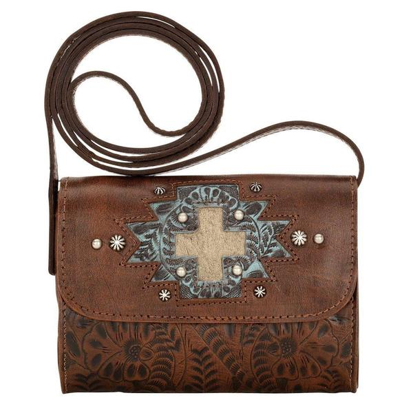 American West Brown Game Day Crossbody Wallet Bag