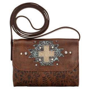 American West Brown Game Day Crossbody Wallet Bag