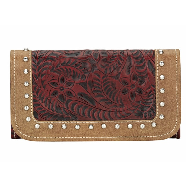 American West Womens Red True Colors Tri-Fold Wallet