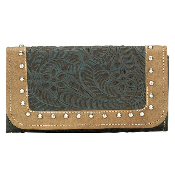 American West Womens Turquoise True Colors Tri-Fold Wallet
