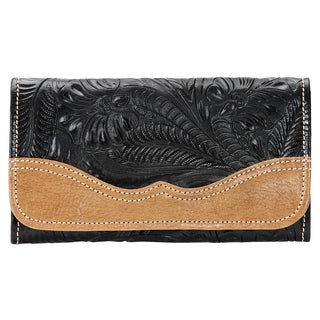 American West Tanned Black Graciebird Tri-Fold Wallet