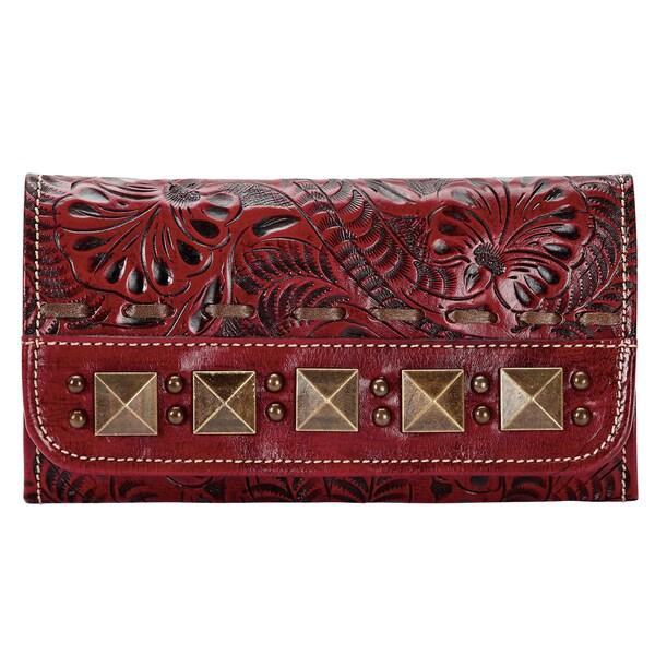 American West Crimson Globe Trotter Tri-Fold Wallet
