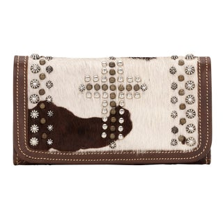 American West Brown/ White Home on the Range Tri-Fold Wallet