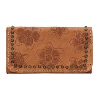 American West Golden Tan Flower Child Tri-Fold Wallet