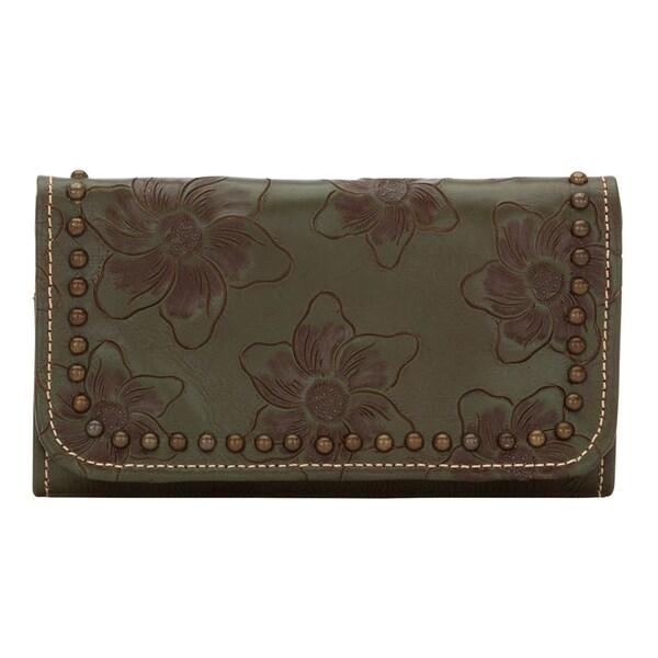 American West Olive Green Flower Child Tri-Fold Wallet