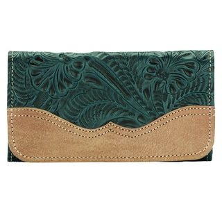American West Emerald Turquoise Birds of a Feather Tri-Fold Wallet
