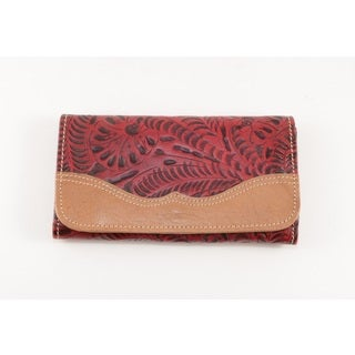 American West Distressed Pomegranate Birds of a Feather Tri-Fold Wallet
