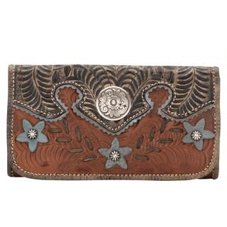 American West Antique Brown Desert Wildflower Tri-Fold Wallet
