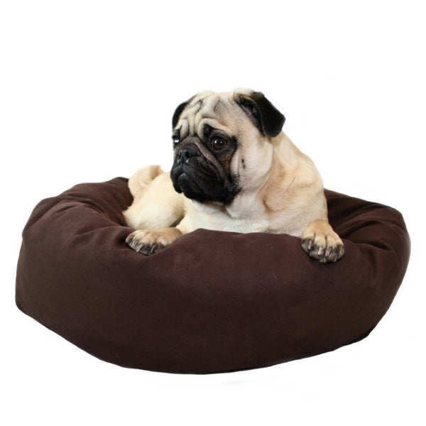 22-inch Chocolate Microsuede Donut Pet Bed